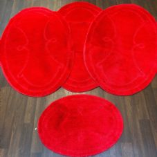 ROMANY WASHABLES GYPSY MATS 4PC SETS NON SLIP WING OVAL DESIGN RED LUXURY RUGS